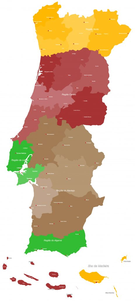 A map denoting the regions of Portugal