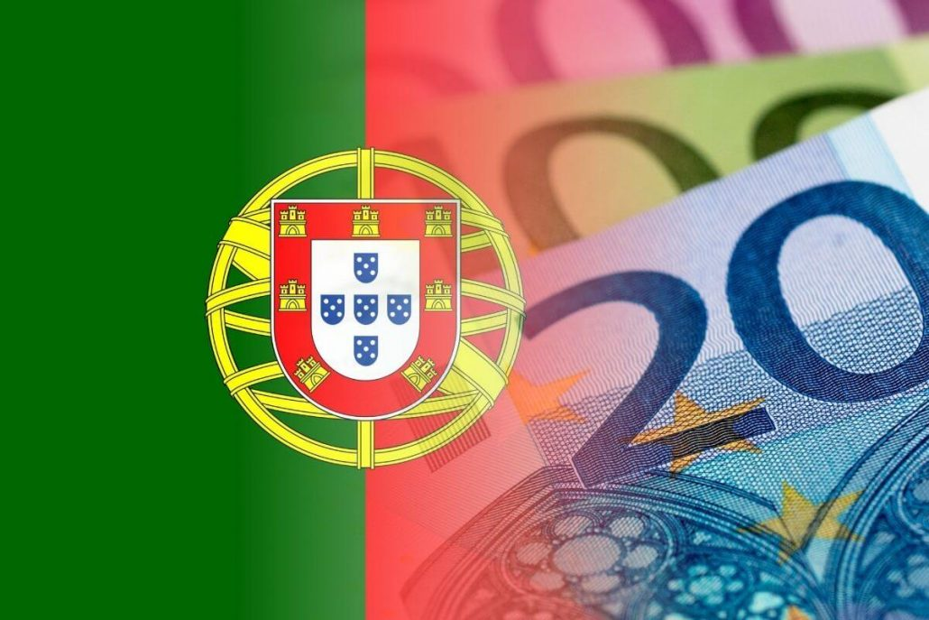 A picture of half a Portuguese flag and some euros on the other side